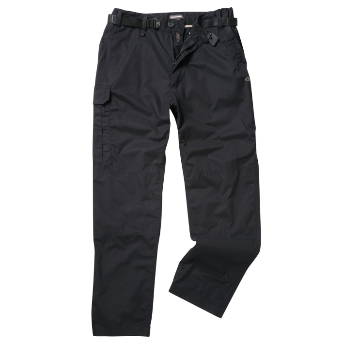 "Craghopper brand outdoor trousers supplied plain in black. Waist 30 to 40"" in Short (29"") Regular (31"") and Tall (33"") leg."